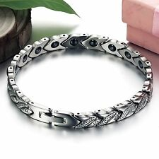 Gentle Ladies Stainless Steel Magnet Energy Magnetic Stone Chain Health Bracelet