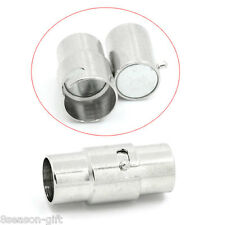 "10 PCs Magnetic Clasps Cylinder Silver Tone 15mmx6.5mm( 5/8""x 2/8"")"