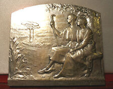 LARGE SUPERB ART NOUVEAU SILVER WEDDING BRONZE PLAQUE
