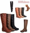 Round Toe Zipper Buckle Low Flat Heel Knee High Boot Shoes Size 5 -10 NEW