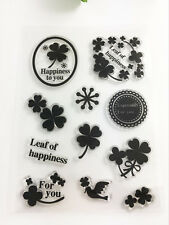 Leaf of happiness Transparent Clear Rubber Stamp Sheet Cling Scrapbooking DIY m3