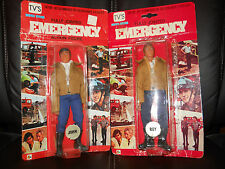 "LJN/remco EMERGENCY""51""TV vintage John Gage/Roy DeSoto figures""BROWN JACKET""moc"