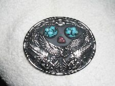 Southwestern Native American Bohemian Silver Turquoise & Coral Belt Buckle
