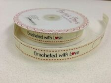 Crocheted with Love Sewing Labels - Cream Ribbon Label Tags Gifts - Per 3 Metres