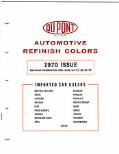 1966 TO 1970 DUPONT AUTOMOTIVE IMPORT REFINISH CAR COLOR REFERENCE GUIDE CHART