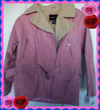 $400 M Medium PINK VICTORIAS SECRET Leather Suede Motorcycle Jacket Coat Zipper