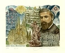 Spanish  Architect Antoni Gaudi, Architecture Ex libris Etching by S. Kirnitskiy