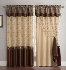 All-in-One Chocolate Window Curtain Drapery Panel: Double-Layer,Embroidered