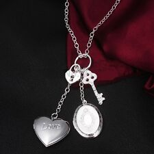 925 STERLING SILVER 2 HEART PATTERNED OPEN-ABLE LOCKETS KP6, KEY+LOCK NECKLACE