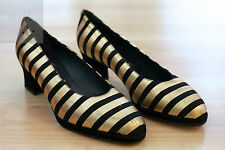 NEW WOMENS BLACK GOLD STRIPES NANA PUMPS LEATHER SHOES SZ 5.5 EUR 36 MADE ITALY