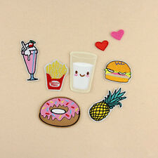 8Pcs Embroidery Donuts Fruit Sew Iron On Patch Badge Bag Clothes Fabric Applique