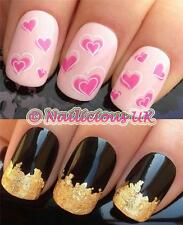 Nail Art Set # 89. Rosa Girly Corazones Agua transfers/decals/stickers & Hoja De Oro