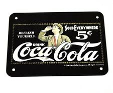 Coca-Cola Coke Tin sign Tin Metal Shield - Logo black and white Man with glass