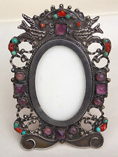 Vintage Mexican Sterling Silver & Stone Easel PICTURE FRAME signed MORALES