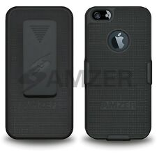 Amzer Shellster Shell Holster Combo Case Cover For Apple iPhone 5 5S - Black