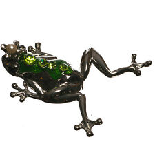 Silver Tone Green Enamel Crystal Frog Prince Brooch in Gift Box