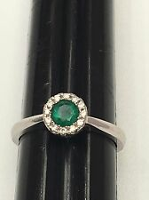 14K White Gold Ring with Natural Emerald and Diamond - Size: 7 USA