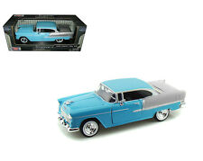 1955 Chevy Bel Air Blue 1/24 Scale Diecast Car Model By Motor Max 73229