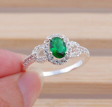 Fashion  Jewelry oval emerald  gemstones  925 silver ring gifts size10  M236