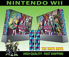 NINTENDO WII STICKER MONSTER HIGH VAMPIRE WOLF ZOMBIE GRAPHIC SKIN & 2 PAD SKIN