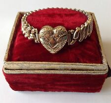 VINTAGE ART DECO WWII CO-STAR STERLING BASE SWEETHEART EXPANSION BRACELET