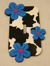 NEW RUBBER LASER CUT LIGHT SWITCH COVER - COW PRINT WITH FLOWERS
