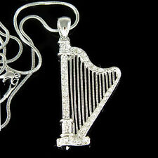 w Swarovski Crystal Irish Bridal Wedding CELTIC HARP music Pendant Necklace Xmas