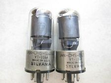 NICE 2 MATCHED SYLVANIA-JAN-CHS- 6SJ7GT TOP BIG [] GETTER TUBES TESTED GREAT !!