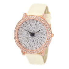 Alias Kim Silver Crystal Face Rose Gold Case White Leather Women's Quartz Watch