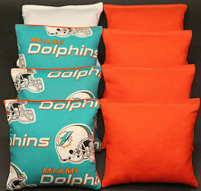 MIAMI DOLPHINS 8 Cornhole Bean Bags ALL WEATHER Game Resin Filled Waterproof!