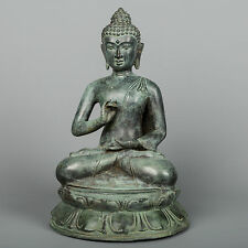 Antique Thai Style Bronze Buddha Statue in Dharmachakra Teaching Mudra -26cm/10""