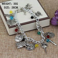 Game of Thrones Silvertone Metal Charm Bracelet 12 Themed Charms Badge New