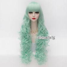 Lolita Long 80CM Curly Light Green Fashion Women Girl Cosplay Heat Resistant Wig
