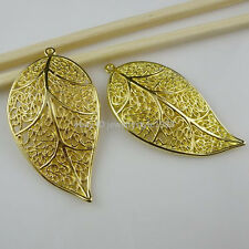 10759 7PCS Shiny Gold Tone Nice Plants Leaf Pendant Charms Jewelry Finding