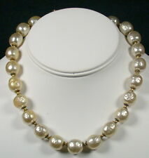 Miriam Haskell Large Baroque Pearl Choker Necklace