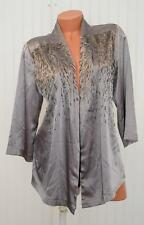 Chicos Satin Brown Taupe Embellished 3/4 Sleeve Womens Blouse Top Sz M E86
