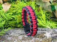 "7"" RED & BLACK GENUINE 550 7 STRAND COBRA STITCH PARACORD BRACELET BUSHCRAFT EDC"