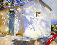 BEACH HOUSE AT CARFU GREECE BLUE & WHITE OIL PAINTING ART PRINT ON REAL CANVAS