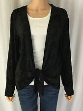 Chico's Travelers Size 3 Black Tie Front Topper Cardigan Paisley Embossed
