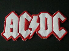 ROCK METAL MUSIC SEW/IRON ON PATCH:- AC/DC (b) WHITE LETTERS RED LIGHTNING BOLT
