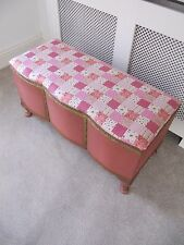 VINTAGE SHABBY CHIC PINK & GOLD WICKER STORAGE OTTOMAN LINEN BOX WITH FLORAL TOP