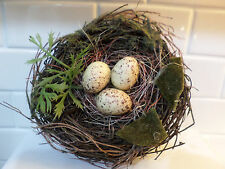 FAUX TWIG DECORATIVE BIRDS NEST w/ 3 EGGS HOME DECOR CRAFTS FLORAL CLOCHES NEW