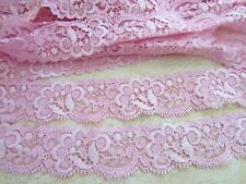 "10 yards Elastic/Stretch Soft Floral Lace 1.25"" Trim/sewing/Light T62-Baby Pink"
