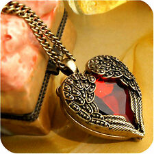 Art Deco vintage retro style heart angel wings necklace