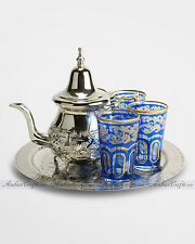 SMALL Moroccan Alpaca Silver Tea Set - Teapot, Tray & 6 BLUE Tea Glasses