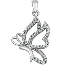 Cz Butterfly .925 Sterling Silver Pendant