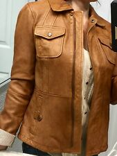 BR Monogram Banana Republic Safari Soft Cognac Lambskin Leather Jacket $350 S Nw