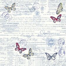 FabScraps Serenity Collection Bold Butterfly & Script Cotton Fabric Yardage   H5