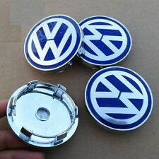 Set of 4 Volkswagen Alloy Wheel Center Caps Hub Blue Silver VW Passat Golf 60mm