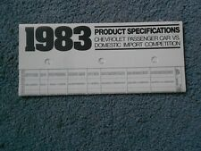 1983 CHEVROLET PRODUCT SPECIFICATIONS CAR VS DOMESTIC IMPORT COMPETITION ORIG OE